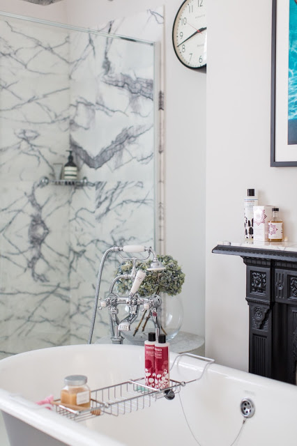 7bee0645fdf57 GET THE LOOK: Victorian style bath and double console basin from Heritage  Bathroom, solid oak parquet in Seashell from Fired Earth, Georgica Pond  marble ...